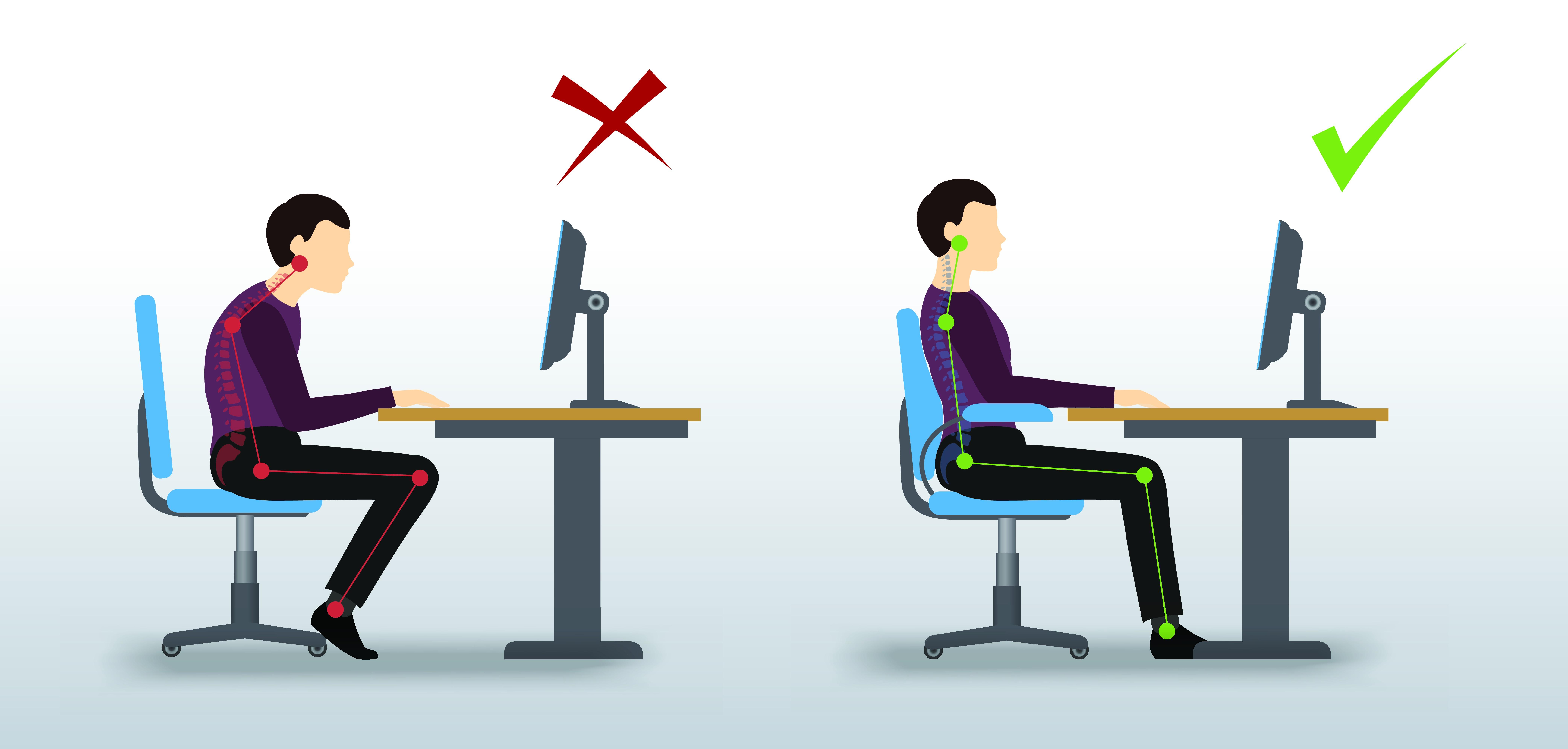 Illustration of bad desk posture and good desk posture.